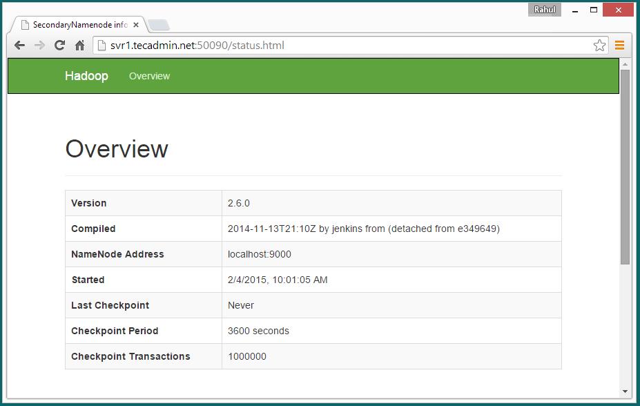 Hadoop single node secondary namenode