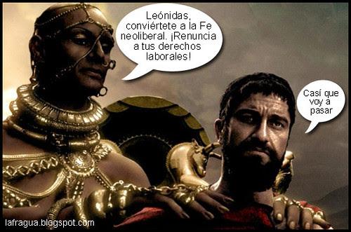 Foto montaje en el que se ve a Jerjes tratando de convencer a Leónidas de que renuncie a sus derechos laborales