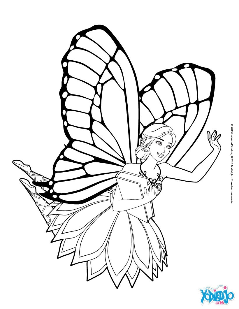 Dibujos Para Colorear El Hada Barbie Mariposa Eshellokidscom
