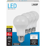 Feit Electric A19 LED Light Bulb, 8.5 W - 4 pack