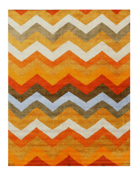 EORC IE59MU Hand Knotted Bamboo Silk Multi Chevron Rug – EORC Eastern Rugs - Makers of Fine Rugs Since 1979