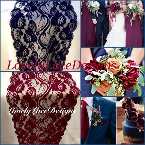 Navy & Burgundy Lace Table Runners/3ft  10ft Long X 7in