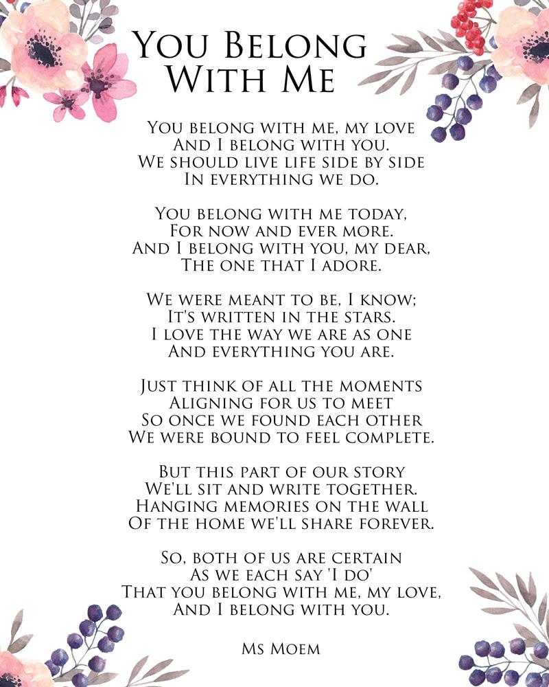 You Belong With Me Ms Moem Poems Life Etc