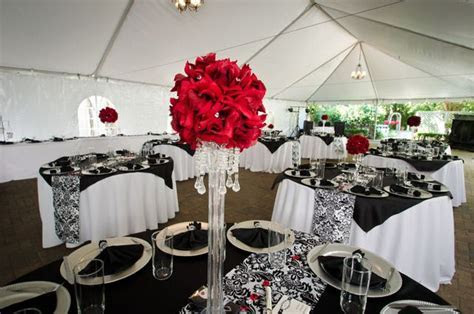 Black, White, Red Damask Wedding Party Ideas   Red wedding
