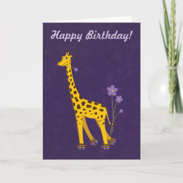 Funny Giraffe Birthday Purple Customizable Text Greeting Cards