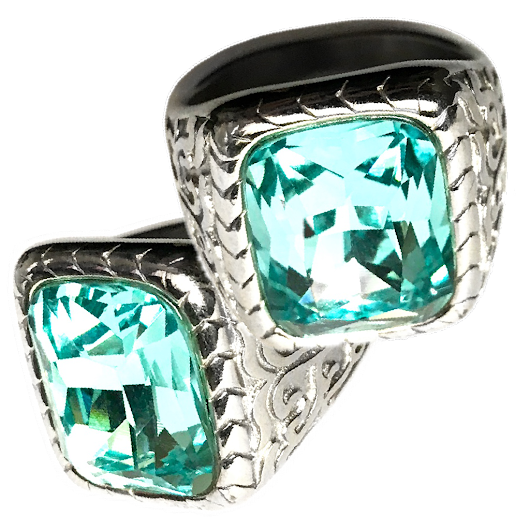 Lustrous Blue Topaz Gem set in Silver Ring actively stimulating the Source of Inner Strength and External Influence