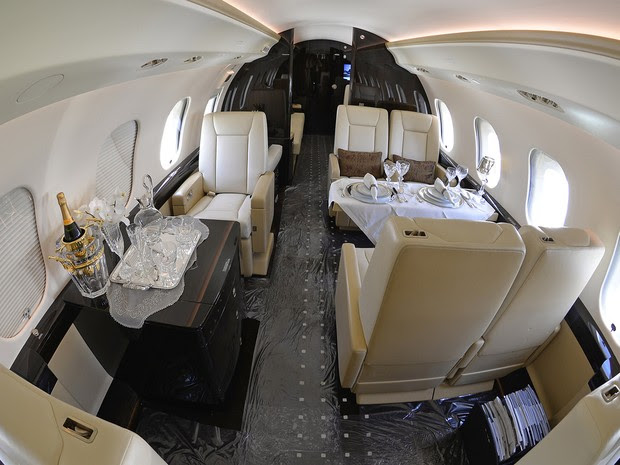 Interior de um jato executivo que esteve no Rio durante a Olimpíada  (Foto: Divulgação/Líder Aviação)