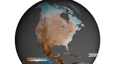 North American map of estimated ground moisture in 2095 based on a moderate emissions scenario