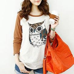 Dodostyle - Owl Print Raglan Sleeve T-Shirt