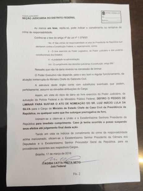 Decisão judicial anula posse de Lula; decisão cabe recurso