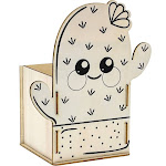 Bright Creations 8-Pack DIY Unfinished Wood Cactus Box Kit for Painting and Crafts, 3.5 x 7 Inches