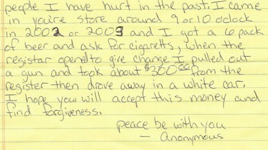 Thief writes apology note & returns money for robbery 11 years later