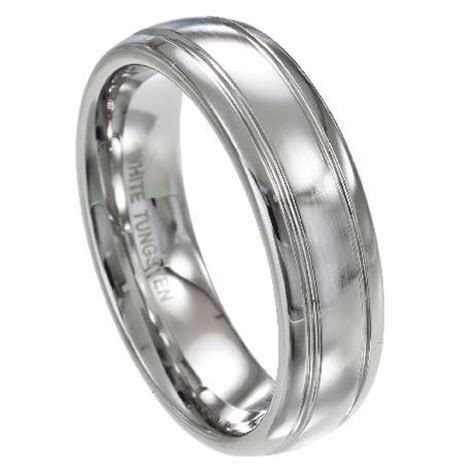 Mens White Tungsten Wedding Rings   Dual Grooved