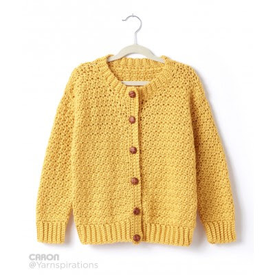 Child's Crochet Crew Neck Cardigan