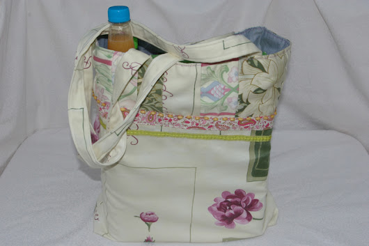 Bag Large Shopping Bag with Long handles and patchwork.