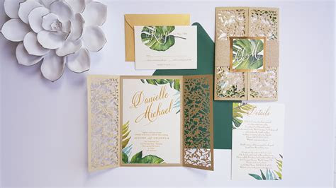 Tropical gold wedding invitations   Laser cut tropical invite