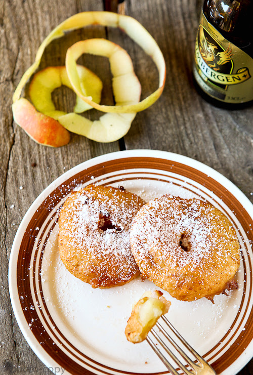 Apple beignets with beer batter