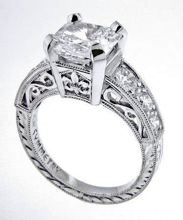 Diamond fleur de lis engagement ring   Picture of Symmetry