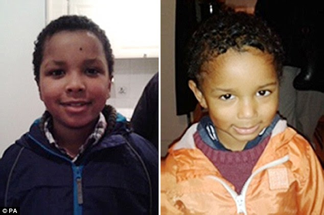 Concern: Ms Blake left with children Zachary, left, eight, and Amon, four, after packing the boot of her car