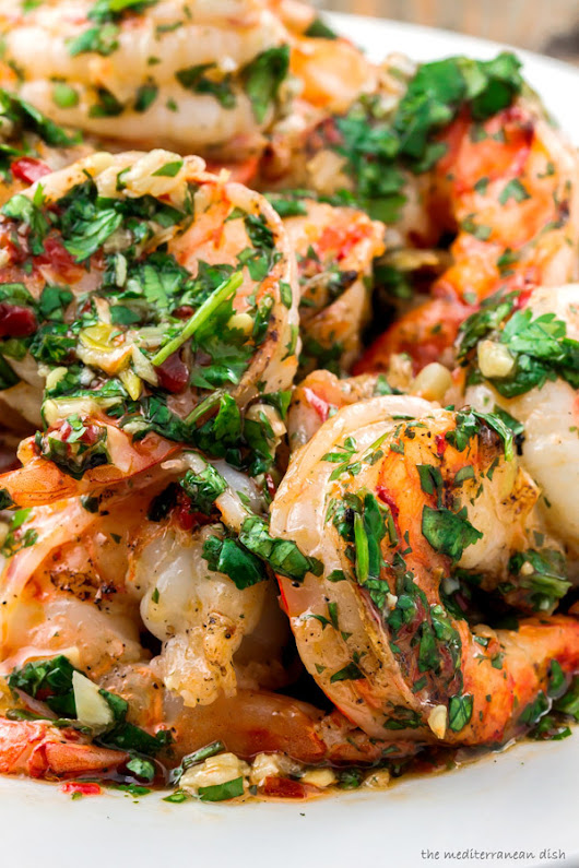 Recipe: Grilled Shrimp with Roasted Garlic-Cilantro Sauce from The Mediterranean Dish