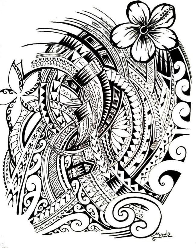 Dibujo Para Colorear Relajante Tatuajes Polinesio 5