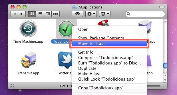 Uninstall a Mac Application by putting in Trash