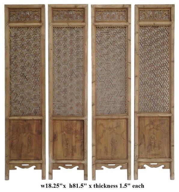 Set of 4 Pieces Geometric Flower 2 Sides Door Panel - asian ...