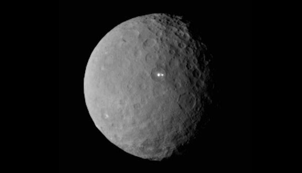 An image of the dwarf planet Ceres that was taken by NASA's Dawn spacecraft from a distance of about 29,000 miles (46,000 kilometers), on February 19, 2015.