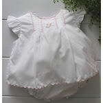 Girls White Sleeveless Diaper Set with Pink Flowers | Petit Ami NB