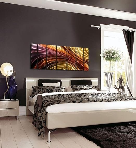 Bedroom Focal Wall: Bed Room Photos: Contemporary Bedroom Decor With Metal