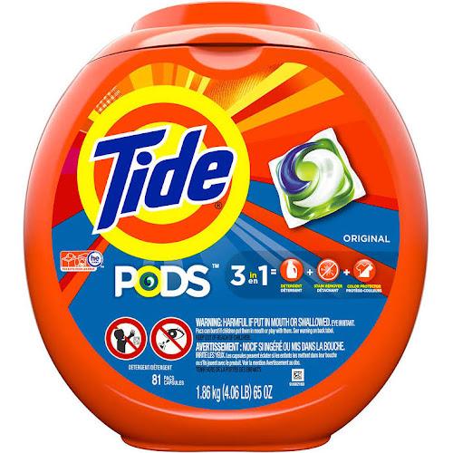 Tide PODS Liquid Detergent Pacs, Original, 81 count