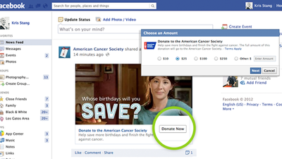 Facebook's new donate button lets users more than just 'like' a cause