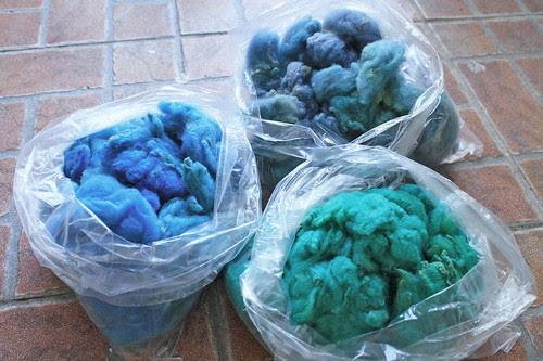 Dyed loose wool: cools
