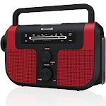 WeatherX WB/AM/FM Solar Charge Radio - Red (WR383R), Red Black