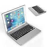 iPad Pro 12.9 キーボード - ATiC iPad Pro 12.9専用回転軸式 リチウムバッテリー内蔵 USBケーブル付き ワイヤレス ブルートゥース キーボード(Wireless Bluetooth Keyboard) SILVER