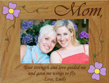 Personalized Strength Love Mom Flower Photo Frame
