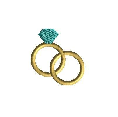 Mini Wedding Rings Machine Embroidery Design