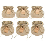 Syndicate (6 Pack) Vintage Home Decor Glass Vase Set With Linen Jackets For Flowers Candy Keys