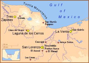 The Olmec heartland, showing the location of E...