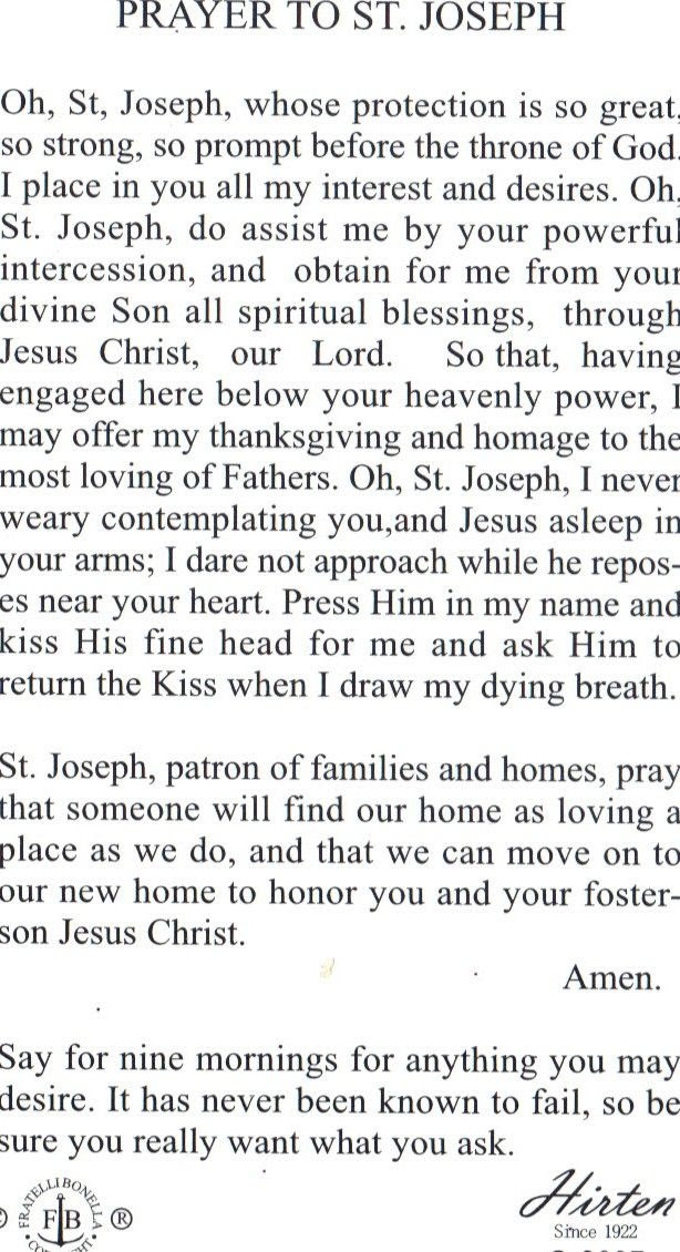St joseph on Pinterest | Sell House and Prayer