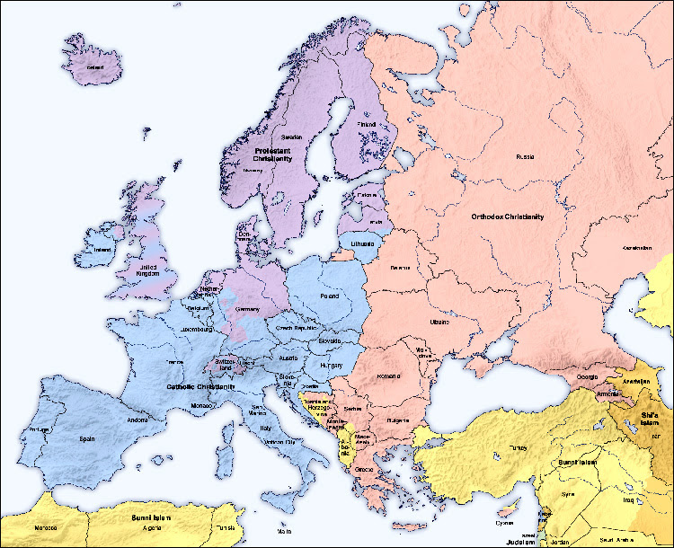 Map of traditional religious divisions in Europe