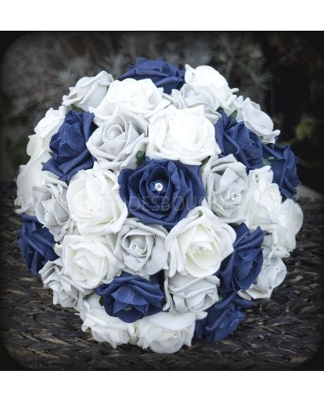 Navy Silver   Rose Bridal Bouquet of Navy Blue and Silver