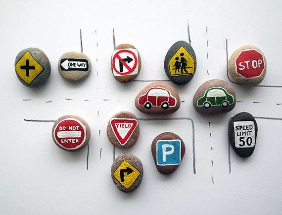Road Signs with Magnets, Traffic Symbols, Play for Magnetic Chalkboard, Eco Toys, Gift Idea for Boys, Painted Beach Pebbles, Sea Stones