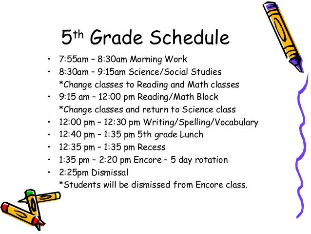 5th Grade Daily Schedule   Daily Planner