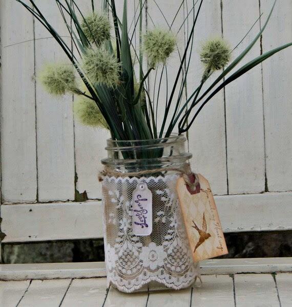 romanitc shabby chic mason jar candle holder or floral vase