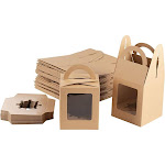 Kraft Paper Cupcake Boxes - 100-Pack Single Bakery Box Packaging with Clear Display Window, Insert, and Handle, Pastry Carrier Disposable Take-Out