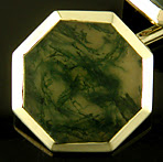 Carter, Howe Moss Agate cufflinks crafted in 14kt yellow gold. (J8851)