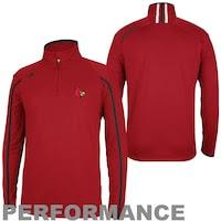 adidas Louisville Cardinals Coaches Sideline Quarter Zip Performance Jacket - Red