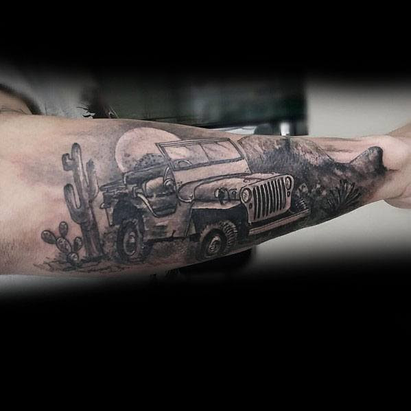 Jeep Desert Landscape Outer Forearm Tattoos For Men