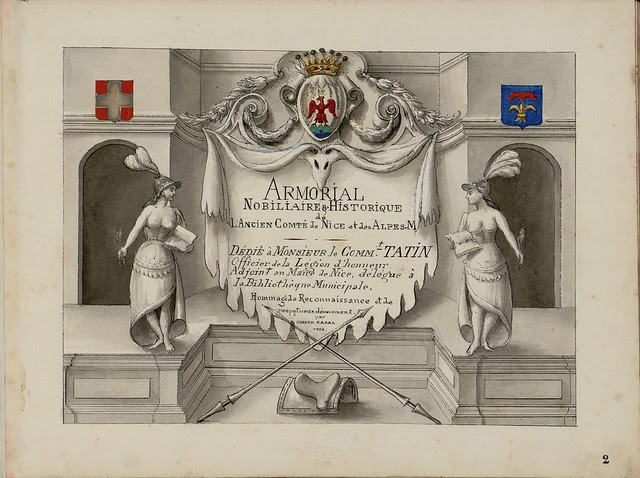 title page / frontispiece with text on mantle flanked by ancient figures